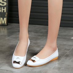 Women's Microfiber Leather Flat Heel Flats Closed Toe With Buckle shoes (086134598)