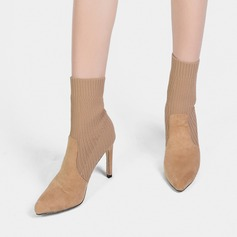Women's Suede Fabric Stiletto Heel Closed Toe Boots Mid-Calf Boots With Elastic Band shoes