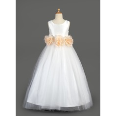 A-Line/Princess Floor-length Flower Girl Dress - Taffeta/Tulle Sleeveless Scoop Neck With Sash/Flower(s)