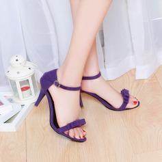 Women's Suede Cone Heel Sandals Pumps Peep Toe With Bowknot shoes
