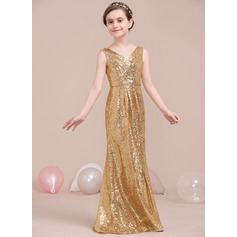A-Line/Princess V-neck Floor-Length Sequined Junior Bridesmaid Dress With Ruffle