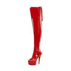 Women's Patent Leather Stiletto Heel Pumps Platform Boots Over The Knee Boots With Zipper shoes