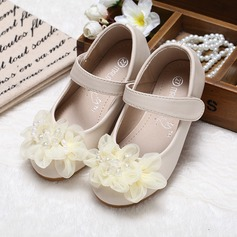 Girl's Closed Toe Leatherette Flat Heel Flats Flower Girl Shoes With Imitation Pearl Flower