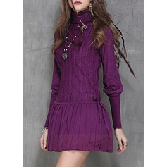 Knitting With Stitching Above Knee Dress (199136849)