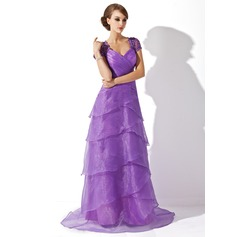 A-Line/Princess V-neck Sweep Train Organza Mother of the Bride Dress With Ruffle Lace Beading Sequins