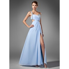 A-Line/Princess One-Shoulder Floor-Length Chiffon Prom Dress With Ruffle Beading Sequins Split Front