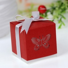 Butterfly Laser-cut Cubic Favor Boxes With Ribbons