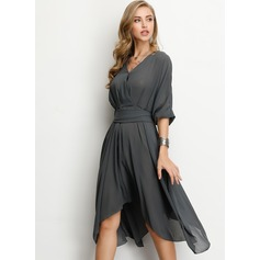 A-Line V-neck Asymmetrical Chiffon Cocktail Dress (016207856)