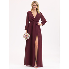 V-neck Floor-Length Chiffon Bridesmaid Dress With Ruffle Bow(s) Split Front (266220387)
