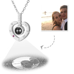 Custom Sterling Silver I Love You Necklace In 100 Languages Projection Heart Photo Necklace With Cubic Zirconia - Mother's Day Gifts (288234229)