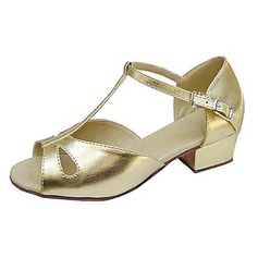 Kids' Leatherette Sandals Flats Latin With T-Strap Dance Shoes