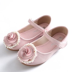 Jentas Lukket Tå Mary Jane Microfiber Lær Flower Girl Shoes med Bowknot Velcro