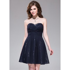 A-Line/Princess Sweetheart Short/Mini Chiffon Sequined Homecoming Dress With Ruffle Beading