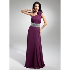 A-Line/Princess One-Shoulder Floor-Length Chiffon Evening Dress With Ruffle Beading Flower(s)