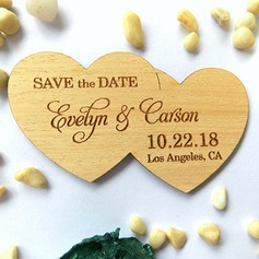 Personalized Double Hearts Wooden Save-the-date Magnets