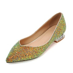 Women's Sparkling Glitter Flat Heel Flats Closed Toe shoes (086092743)