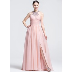 A-Line/Princess Scoop Neck Sweep Train Evening Dress With Ruffle Beading Sequins Split Front