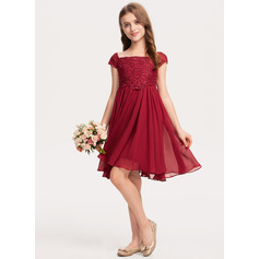 A-Line Knee-length - Chiffon/Lace Sleeveless Off-the-Shoulder With Bow(s)
