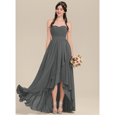 A-Line Sweetheart Asymmetrical Chiffon Bridesmaid Dress With Cascading Ruffles