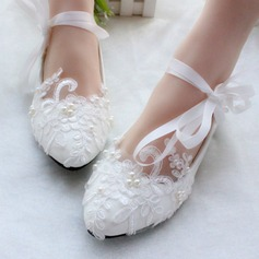 Womens Patent Leather Flat Heel Closed Toe Flats With Imitation Pearl Lace Up Applique