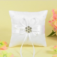 Grace Ring Pillow With Bow/Rhinestones