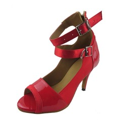 Women's Satin Patent Leather Heels Sandals Latin Dance Shoes