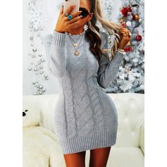 Round Neck Long Sleeves Regular Solid Casual Sweater Dresses (1002265198)