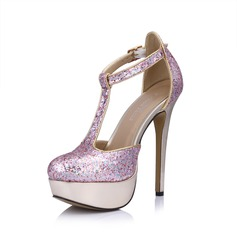 Leatherette Sparkling Glitter Stiletto Heel Pumps Platform Closed Toe With Buckle shoes
