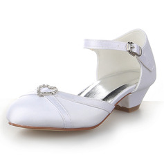 Girl's Closed Toe Satin Low Heel Flower Girl Shoes With Rhinestone (207095494)