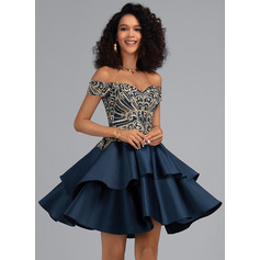 A-Line Off-the-Shoulder Short/Mini Satin Cocktail Dress With Lace