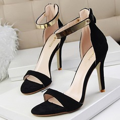 Women's Suede Stiletto Heel Sandals Pumps Peep Toe With Sequin Zipper shoes (085109376)