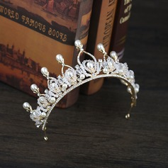 Ladies Shining Rhinestone/Alloy/Imitation Pearls Tiaras With Rhinestone (Sold in single piece)