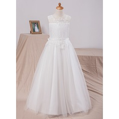 A-Line/Princess Floor-length Flower Girl Dress - Satin/Tulle/Lace Sleeveless Scoop Neck With Bow(s)/Back Hole