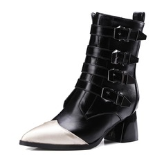 Women's Leatherette Chunky Heel Boots Mid-Calf Boots With Buckle Split Joint shoes