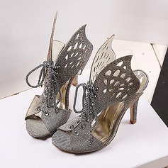 Women's Sparkling Glitter Stiletto Heel Sandals Peep Toe With Sparkling Glitter Hollow-out shoes