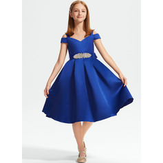 A-Line Off-the-Shoulder Knee-Length Satin Junior Bridesmaid Dress With Beading Bow(s)