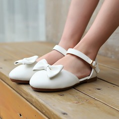 Girl's Microfiber Leather Flat Heel Round Toe Flats With Bowknot