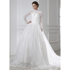 Ball-Gown High Neck Chapel Train Organza Wedding Dress With Ruffle Lace Beading
