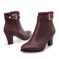 Women's Leatherette Chunky Heel Boots With Others shoes