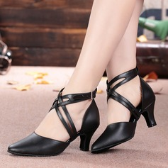 Women's Real Leather Heels Sandals Ballroom Character Shoes With Buckle Hollow-out Dance Shoes