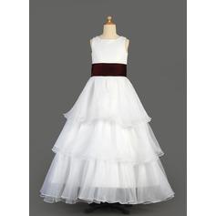 A-Line/Princess Floor-length Flower Girl Dress - Organza/Satin Sleeveless Scoop Neck With Ruffles/Sash