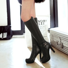 Women's PU Chunky Heel Pumps Platform Boots Knee High Boots With Zipper Others shoes