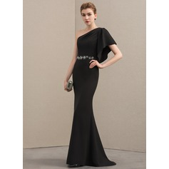 Trumpet/Mermaid One-Shoulder Sweep Train Satin Mother of the Bride Dress With Beading Cascading Ruffles