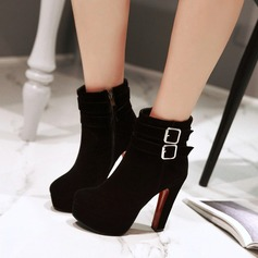Women's Suede Chunky Heel Pumps Platform Boots With Buckle Zipper shoes