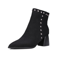Women's Suede Chunky Heel Martin Boots shoes