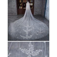 Three-tier Cut Edge Cathedral Bridal Veils With Applique/Lace