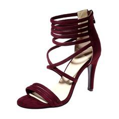 Women's Suede Stiletto Heel Sandals Pumps Peep Toe With Zipper shoes