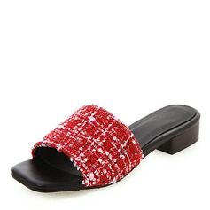 Women's Fabric Chunky Heel Sandals Peep Toe Slippers With Others shoes