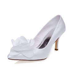 Women's Satin Stiletto Heel Closed Toe Pumps With Flower