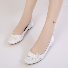 Women's Silk Like Satin Low Heel Closed Toe Flats With Rhinestone Applique